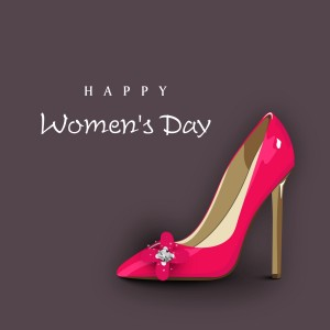 Happy-Womens-Day-background-with-ladies-shoe
